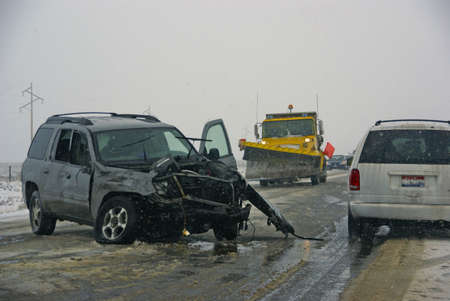 Traffic accident, on icy road,  Idaho mountain highway