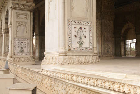inlays: Inlaid marble, columns and arches, Hall of Private Audience or Diwan I Khas at the Lal Qila or Red Fort in Delhi, India