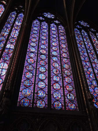 stained glass panel: Stained glass windows in Sainte ChapelleParis, France   Editorial