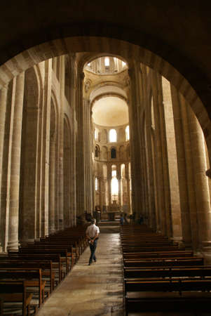 Romanesque interior  of the Abbey Church of St. Foy, Conques, France