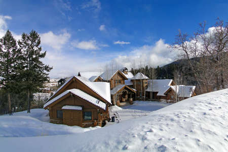 Large houses in winter mountains,  above Vail Valley,Colorado