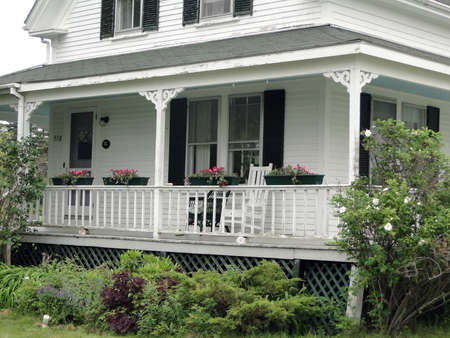 Detail, porch of Classic white New England House, on Mount Desert Island, Acadia National park, Maine, New England