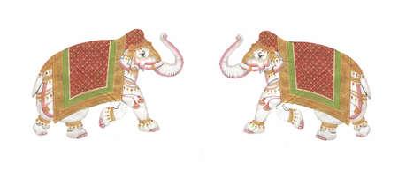 Caparisoned elephants on parade.Indian miniature painting   Udaipur, India