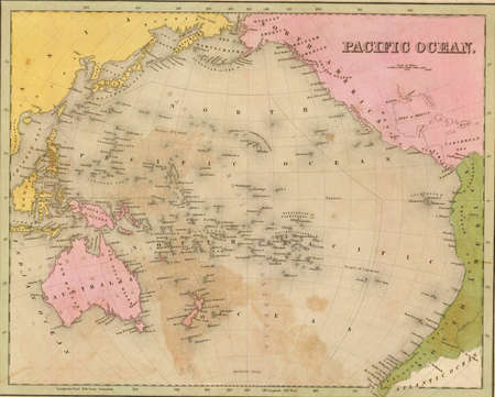 Antique map of the Pacific Ocean  from the out of print 1841 Goodrich atlas   Editorial