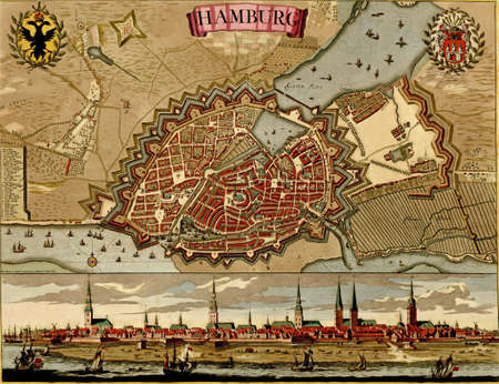 17th: Antique map of Hamburg. Atlas of fortifications and battles, by Anna Beek and Gaspar Baillieu  Originally published in 17th century.    Editorial