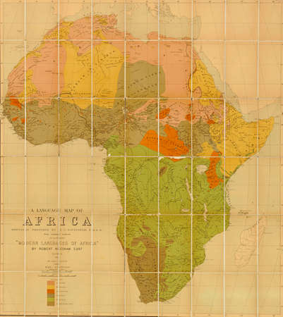 africa map: Language map of Africa  prepared by E G Ravenstein in 1883