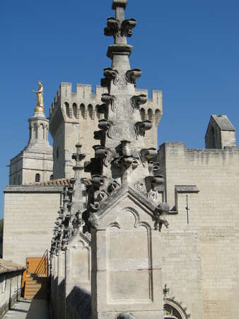 Detail, rooftop ornamentation  of the Palace of the Popes, Avignon, France