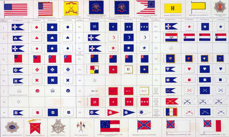 reb: Military flags of  North & South from Atlas to Accompany the Official Records of the Union & Confederate Armies, 1861 - 1865  Stock Photo