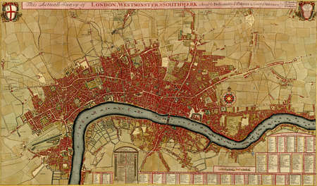 Antique map of London, Southwark asnd Westminster, Atlas of fortifications and battles, by Anna Beek and Gaspar Baillieu  Originally published in 17th century.    Editorial