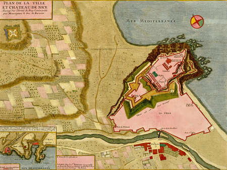 Antique map of town and citadel of Nice, France, Atlas of fortifications and battles, by Anna Beek and Gaspar Baillieu  Originally published in 17th century.