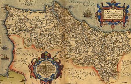 Antique Map of Portugal,  by Abraham Ortelius, circa 1570