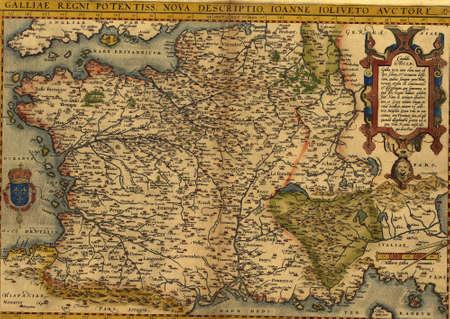 Antieke kaart van Frankrijk, door Abraham Ortelius, circa 1570