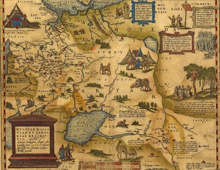 Antieke Kaart van Rusland en Tartarije, door Abraham Ortelius, circa 1570