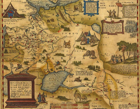 Antique Map of Russia and Tartary,  by Abraham Ortelius, circa 1570   Editorial