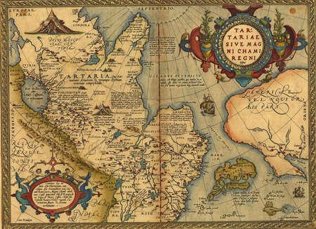 Antieke Kaart van Tartarije, China en Japan door Abraham Ortelius, circa 1570 Redactioneel