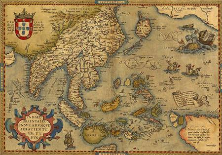Antieke Kaart van China en Zuidoost-Azië, door Abraham Ortelius, circa 1570 Redactioneel