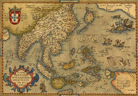 southeast asia: Antique Map of China and Southeast Asia,  by Abraham Ortelius, circa 1570