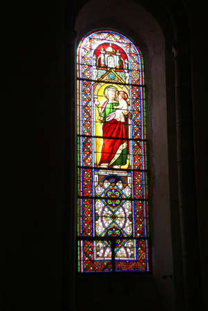 Stained glass, religious scenes, Abbey Church of St. Pierre, Beaulieu sur Dordogne, France