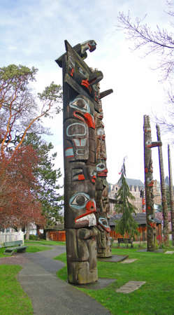 Totem pole carved from cedar, Thunderbird Park, Victoria, BC, Canada