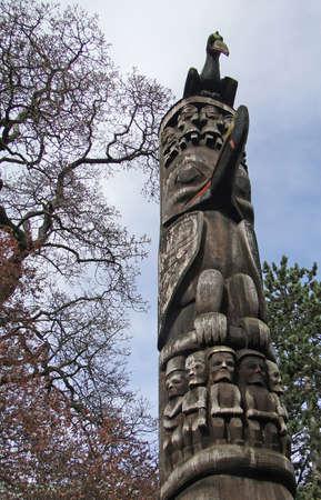 victoria bc: Totem pole carved from cedar, Thunderbird Park, Victoria, BC, Canada
