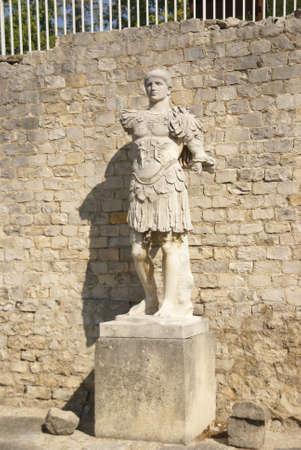 Statue of Roman general  in the Villasse Roman ruins, Vaison la Romaine, France   photo