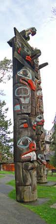 Totem pole carved from cedar, Thunderbird Park, Victoria, BC, Canada Stock Photo - 11309121