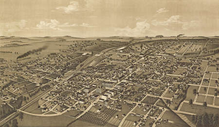 Greenville, Texas, county seat of Hunt County 1886.  city plan from vintage atlas by H Welge