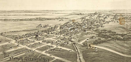 Ladonia, Fannin County, Texas in 1891  from vintage atlas by T M Fowler Imagens - 11351979