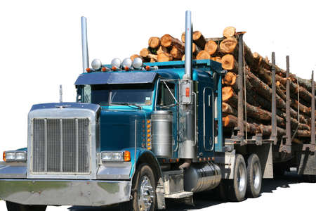Logging truck op de snelweg in de buurt Skohegan Maine Stockfoto