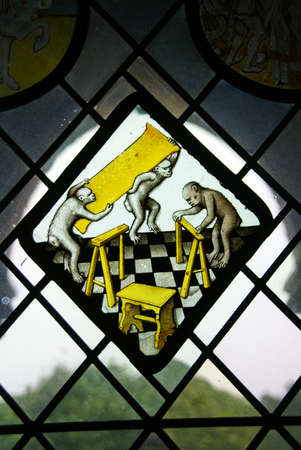 parable: Monkeys working as carpenters, whimsical stained glass image, museum, New York City