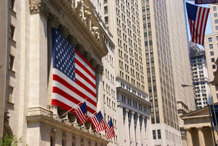 New York Stock Exchange, draped with American flags, Wall Street, financial district,   New York City