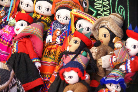 pisac: Handmade Indian dolls, Pisac market,  Cusco, Peru, South America