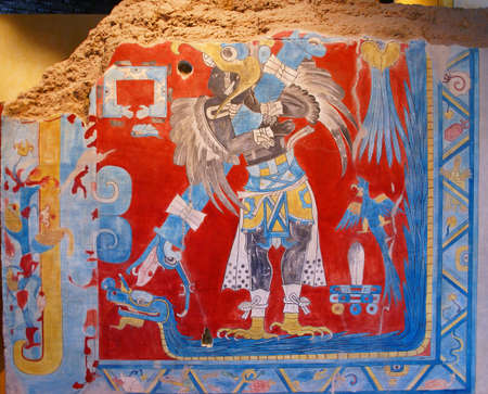 Prehistoric Mexican god,fragment of fresco from Cacaxtla,Anthropology Museum,Mexico  Editoriali