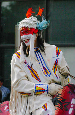 Plains Indian on horseback,  Calgary Stampede Parade Calgary Alberta