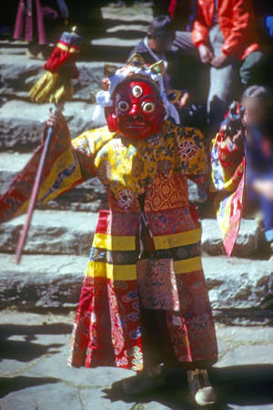 mani: Mani Rimdu dancer, dressed as Tibetan god for harvest festival, Thyangboche Monastery Khumbu Himalaya, Nepal, Asia