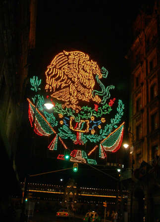 Independence Day lights, night traffic,  Zocalo,   Mexico Editorial