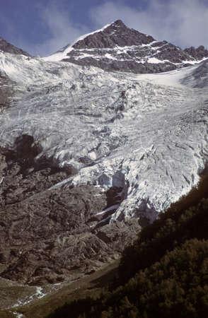 Mountain peak and valley glacier,  Caucasus, former USSR, now Georgia