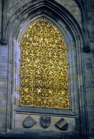 Window with golden grill work, St. Vitus Cathedral,    Prague, Czechoslovakia [Czech Republic]
