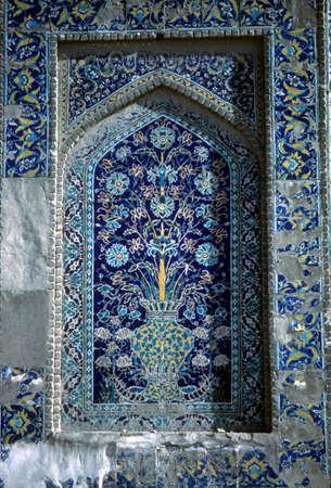 Detail, Medresseh tiled window,  Bokhara former USSR, now Uzbekistan