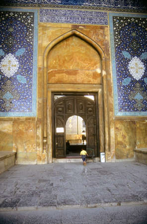 Gate of old mosque,  Isfahan, Iran, Middle East  Stock Photo