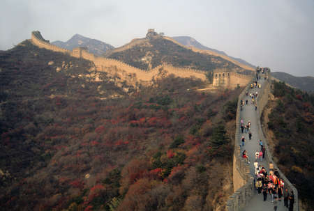 Crowds walking along the Great Wall near  Beijing China