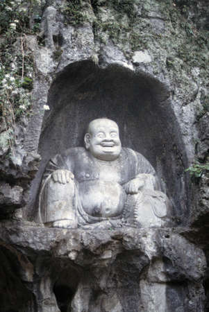 Buddha sculpture in cave,  Lingyin Temple,   China photo