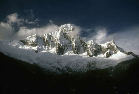 icefall: Taillaraju,  Steep ridged mountain with glacier icefall, Cordillera Blanca, Andes mountains, Peru, South America
