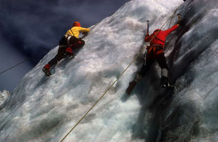 Ice Climbers on icefall below Mt Baker volcano,  Cascades Washington