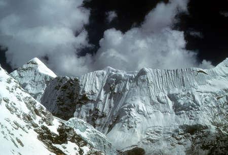 High peaks and glaciers in the   Khumbu Himalaya, Nepal, Asia Editorial