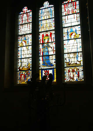 stained glass panel: Stained glass, religious scenes,   Cloisters, New York City