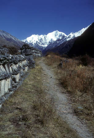 mani: Mani walls built along high Himalayan trail, Langtang Valley Langtang Himal, Himalayas,  Nepal, Asia Stock Photo