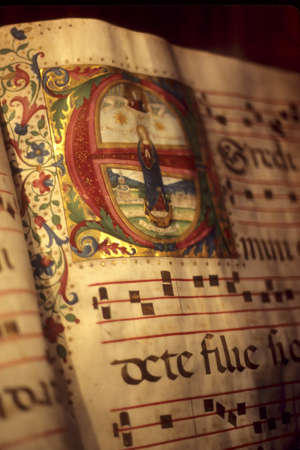 Illuminated manuscript, in medieval library,Florence, Tuscany,Italy