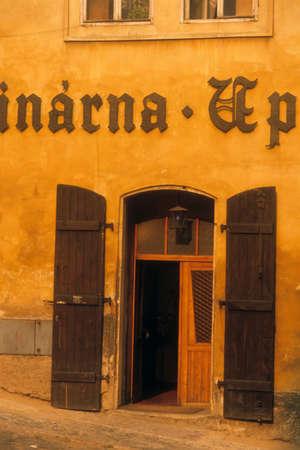 Tavern entrance on narrow street,   Prague Czechoslovakia [Czech Republic] 新聞圖片