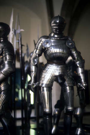 greaves: Armor of medieval knights on display in museum,   Munich Germany, Europe  Editorial